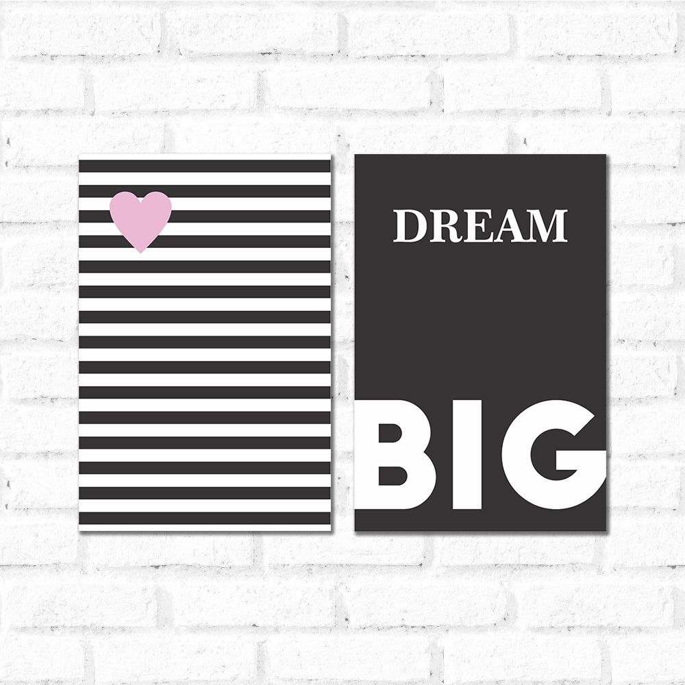 Placa Decorativa Kit Dream Big Listras