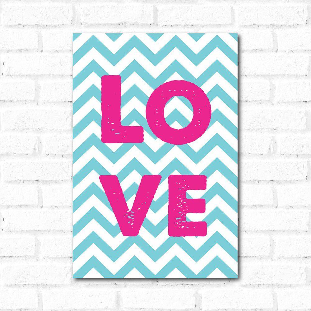 Placa Decorativa Love Chevron