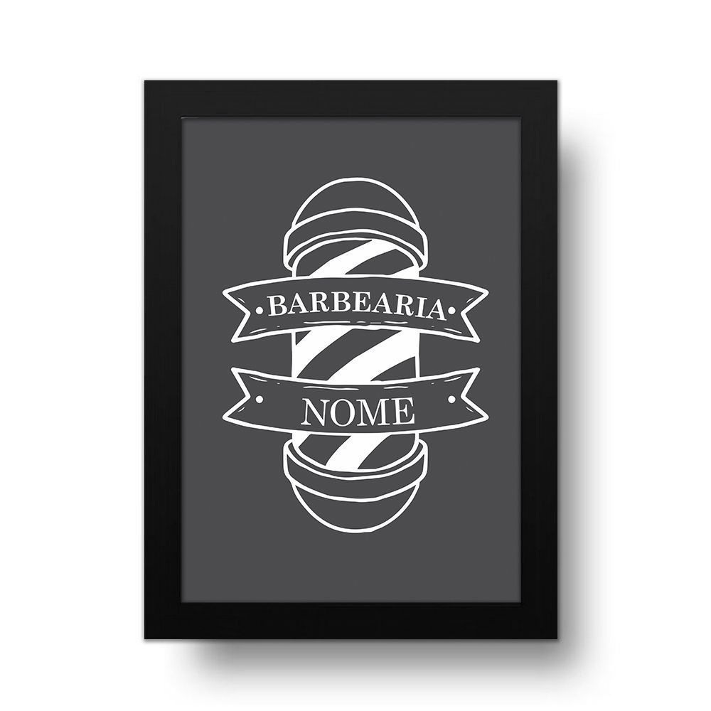Placa Decorativa Personalizado Barbearia Gray