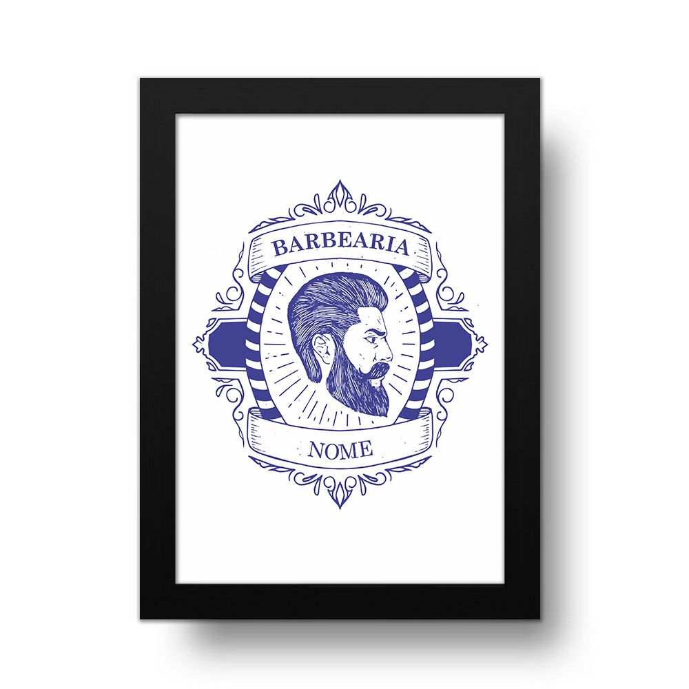 Placa Decorativa Personalizado Barber Shop Blue