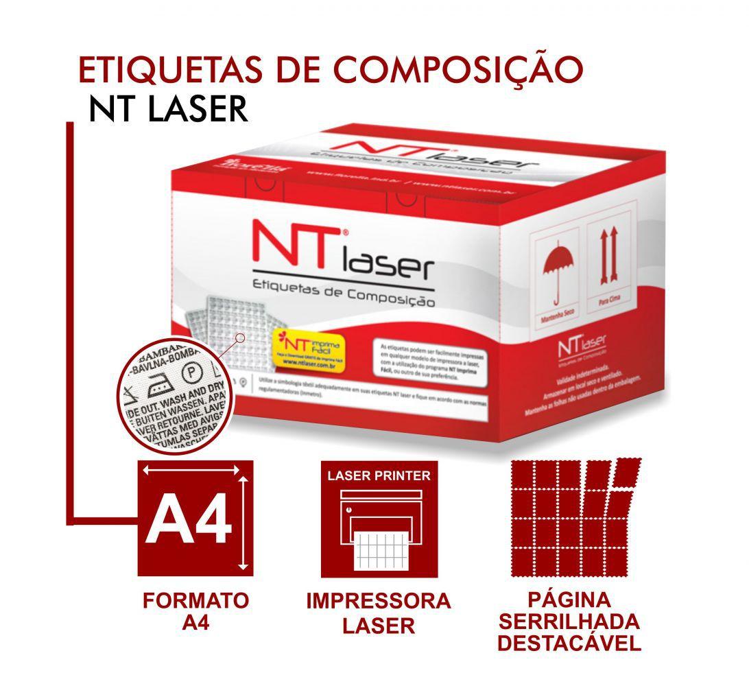 NT LASER - ETIQUETA DE COMPOSIÇÃO TÊXTIL - NÃOTECIDA