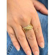 Anel Folheado dourado torcido com zirconias tam 26 | ANF50