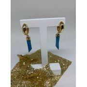 Brinco Folheado dourado argola pingente figa azul | BF635