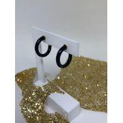 Brinco Folheado Dourado Meia Argola esmaltado preta 1,5 cm | BF639