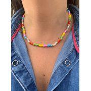 Colar Artesanal de missangas azul rosa bb amarelo verde cristais vermelhos   CAF141