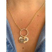 Colar folheado dourado disco de zircônias pratas com ping mão trevo figa e círculo com zircônias | CF360