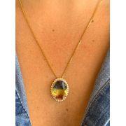 Conjunto Colar Folheado Dourado Pingente Pedra com Brinco | CNJF29