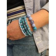 Conjunto de Pulseira Artesanal azul cristal bolas pingente chave | CPA02