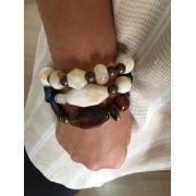 Pulseira Artesanal com resinas nude azul branco e marrom |  PA500