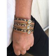 Pulseira Artesanal de Couro Preto e Onça Detalhe Canuilho Dourado | PA111
