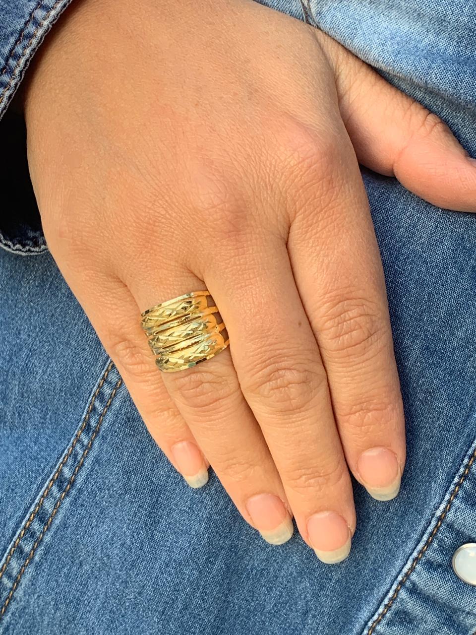 Anel Folheado Dourado com 3 partes tam22 | ANF18