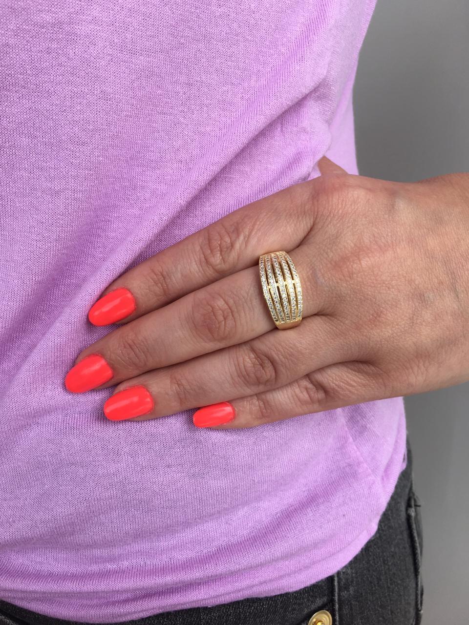 Anel Folheado Dourado com 5 fileiras com zirconias tam 25 | ANF24