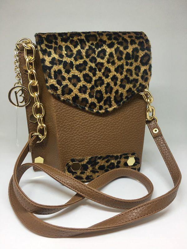 Bolsa de couro marrom com animal print | AC114
