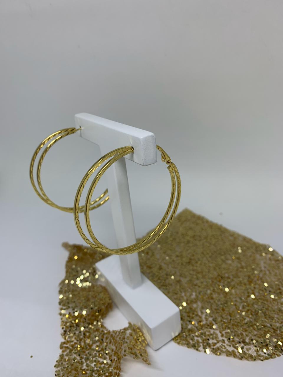 Brinco Folheado Dourado Argola dupla  | BF781