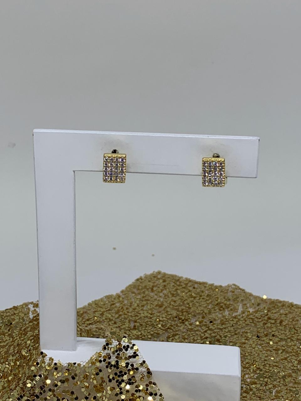 Brinco Folheado Dourado Argola Quadrada P Zirconias | BF518