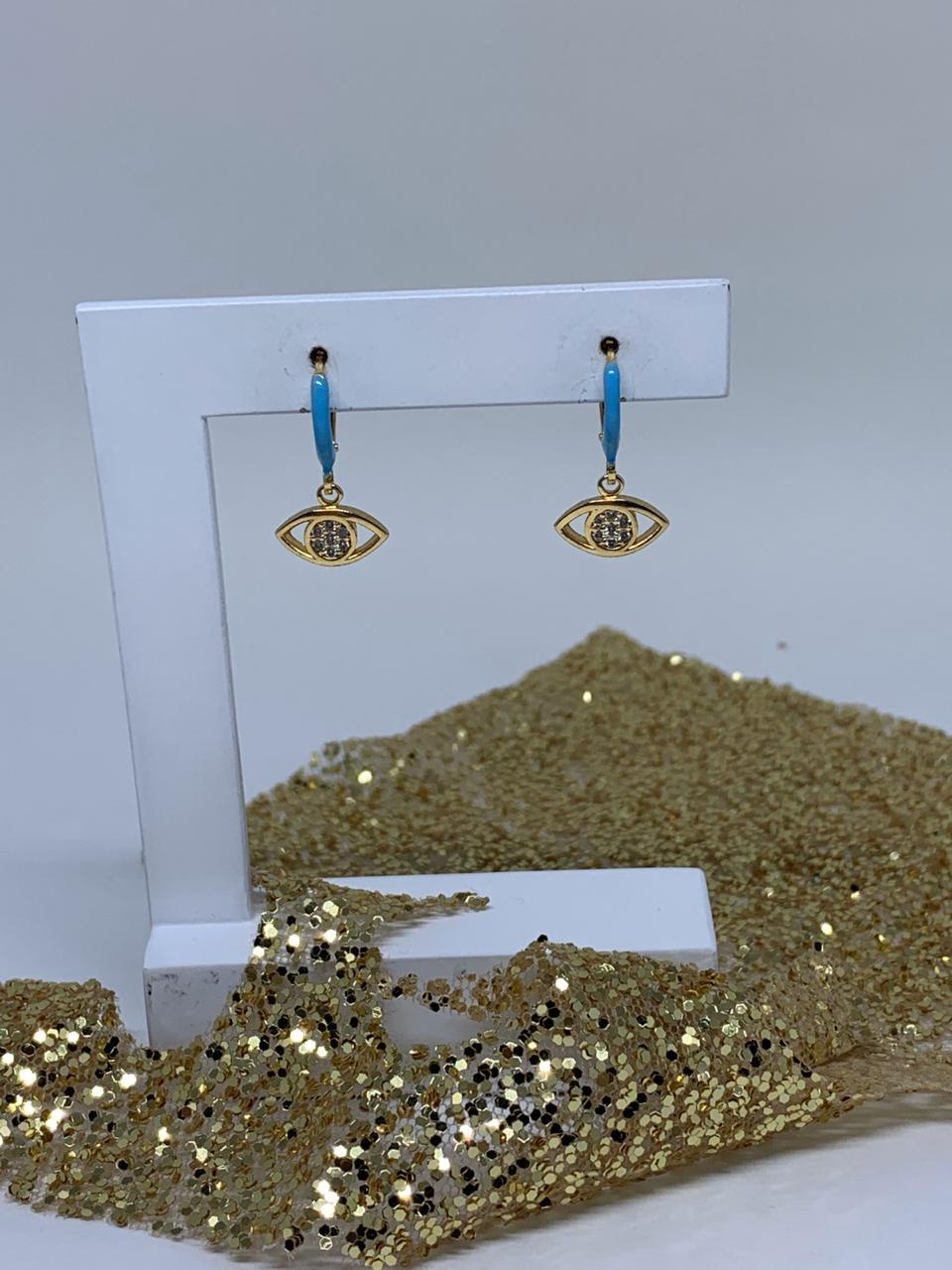 Brinco Folheado Dourado Argolinha esmaltado azul ping olho | BF746
