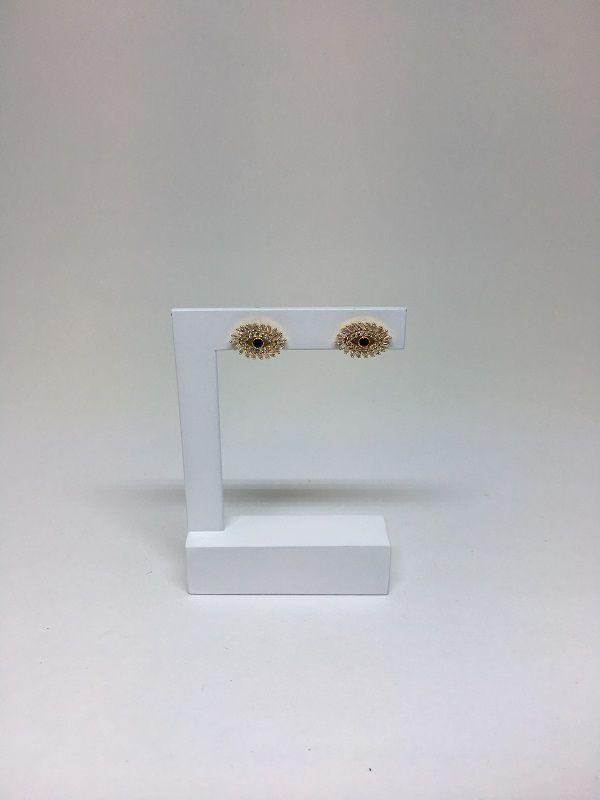 Brinco Folheado Dourado Modelo Olho Grego com Zircônias Brancas e Uma Azul | BF21