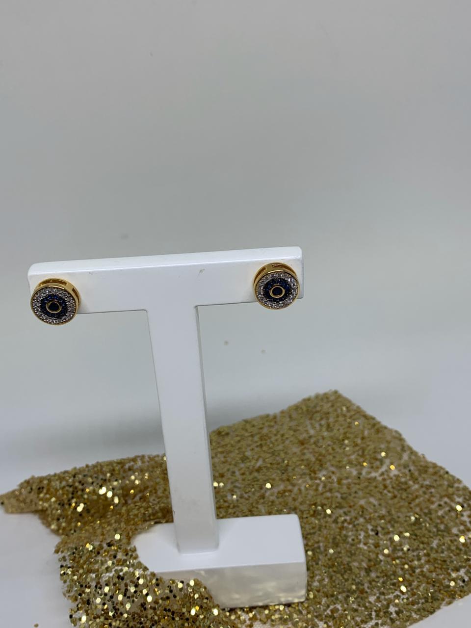 Brinco Folheado Olho Com Zirconia Azul e Prata | BF528