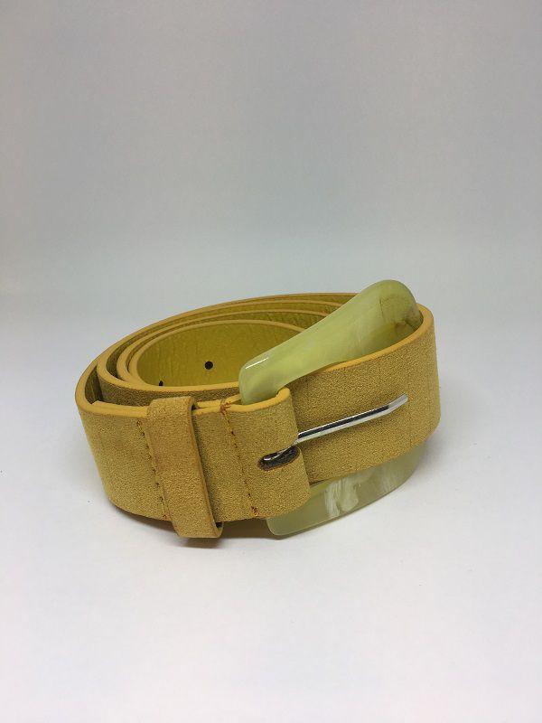 Cinto de Couro Amarelo    AC67