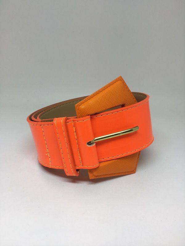 Cinto de couro Laranja neon | AC85
