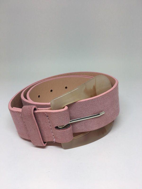 Cinto de couro Rosa e fivela de acrílico | AC68