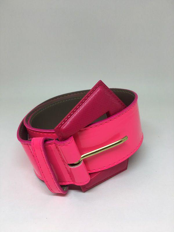 Cinto de couro sintético rosa neon | AC84