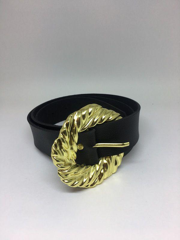 Cinto preto de couro fivela dourado | AC65
