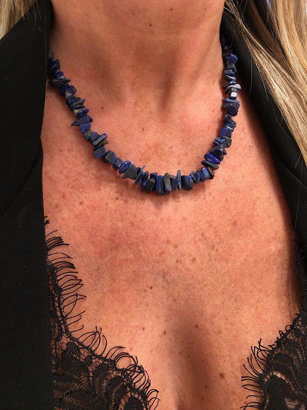 Colar Artesanal De Cascalho Da Pedra Lapis Lazuli | CA111