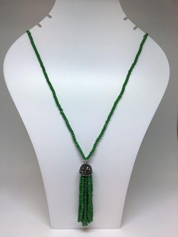 Colar Cristal Verde Longo Com Pingente Tassel De Cristal Verde E Marcacita   | COL129