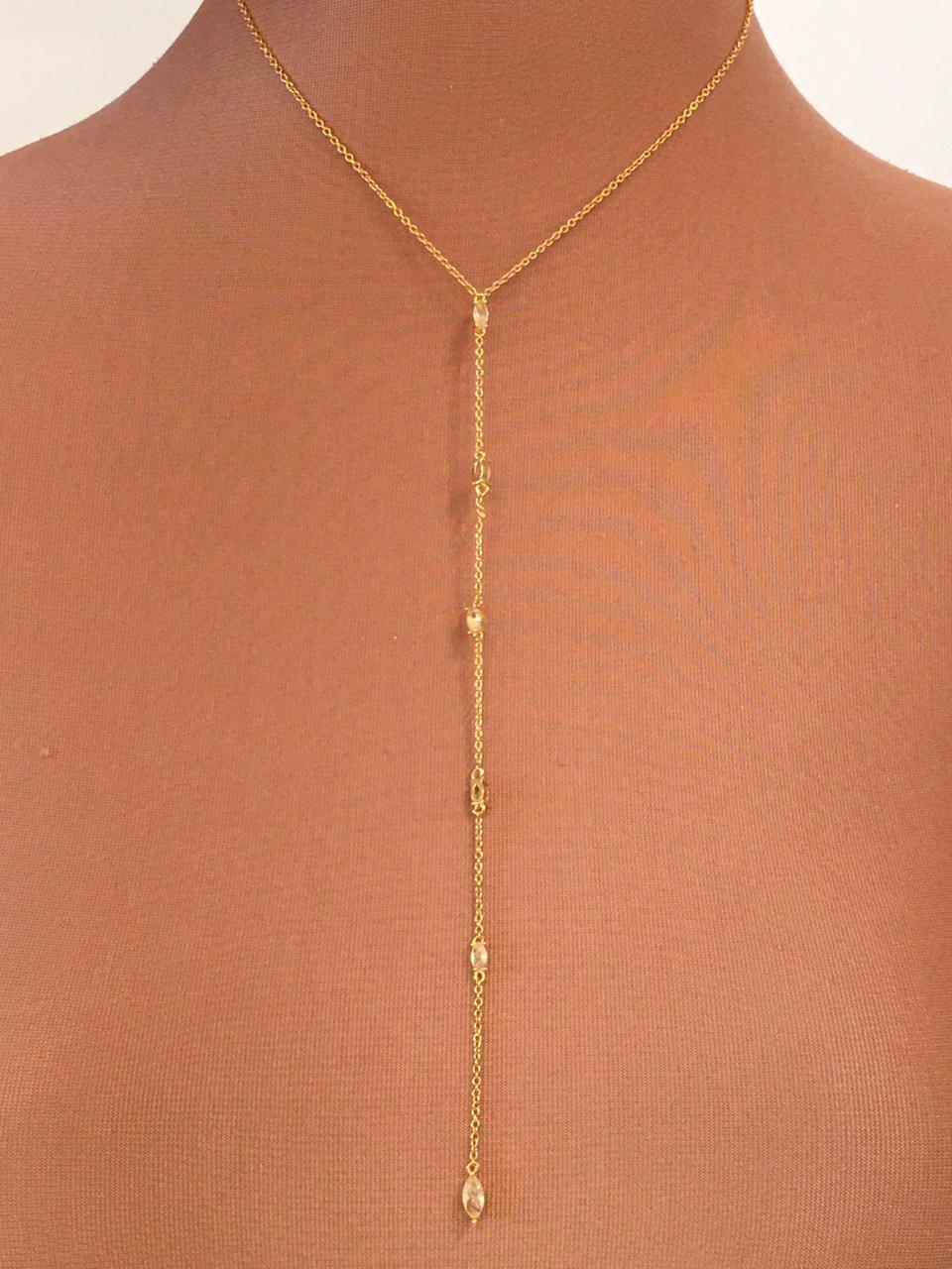 Colar Folheado Dourado 6 pontos de luz | CF234