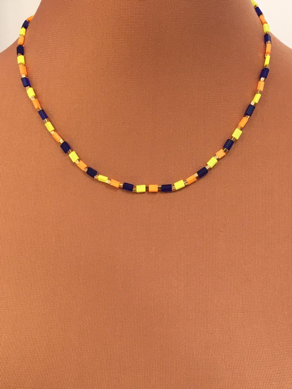Colar Folheado Dourado canutilho azul laranja e amarelo | CF302