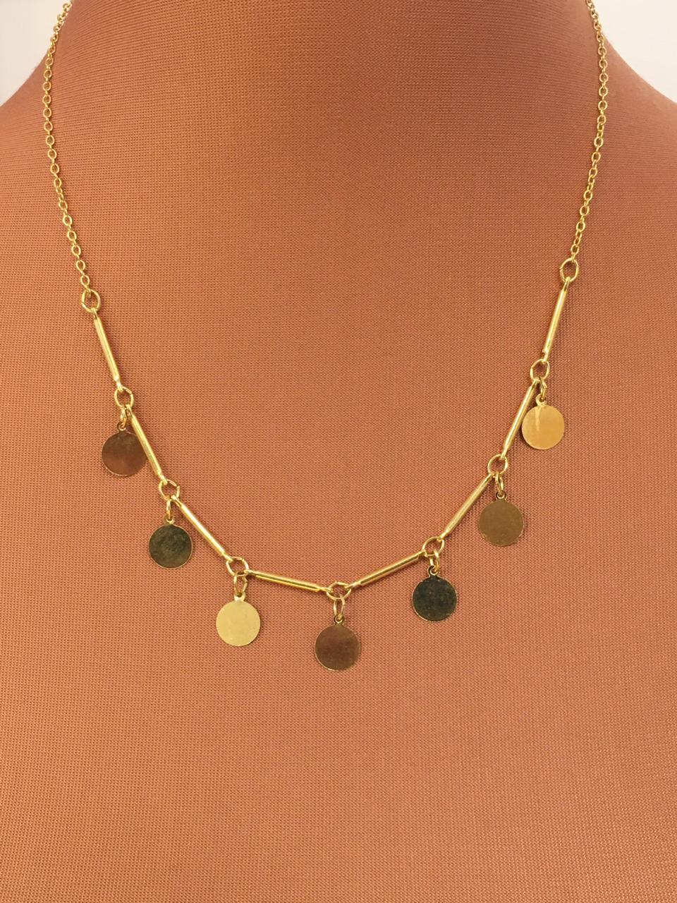 Colar Folheado dourado com medalhas | CF387