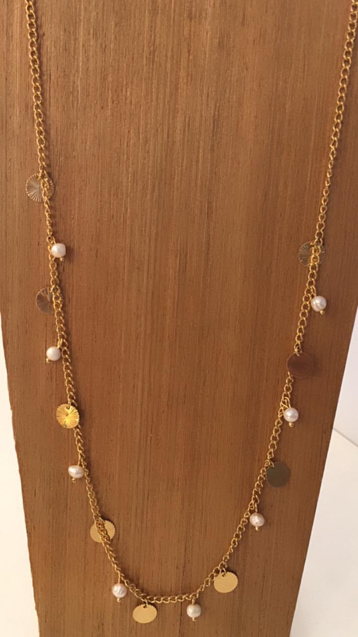 Colar Folheado Dourado Com Vários Pingentes Redondinhos | CF231