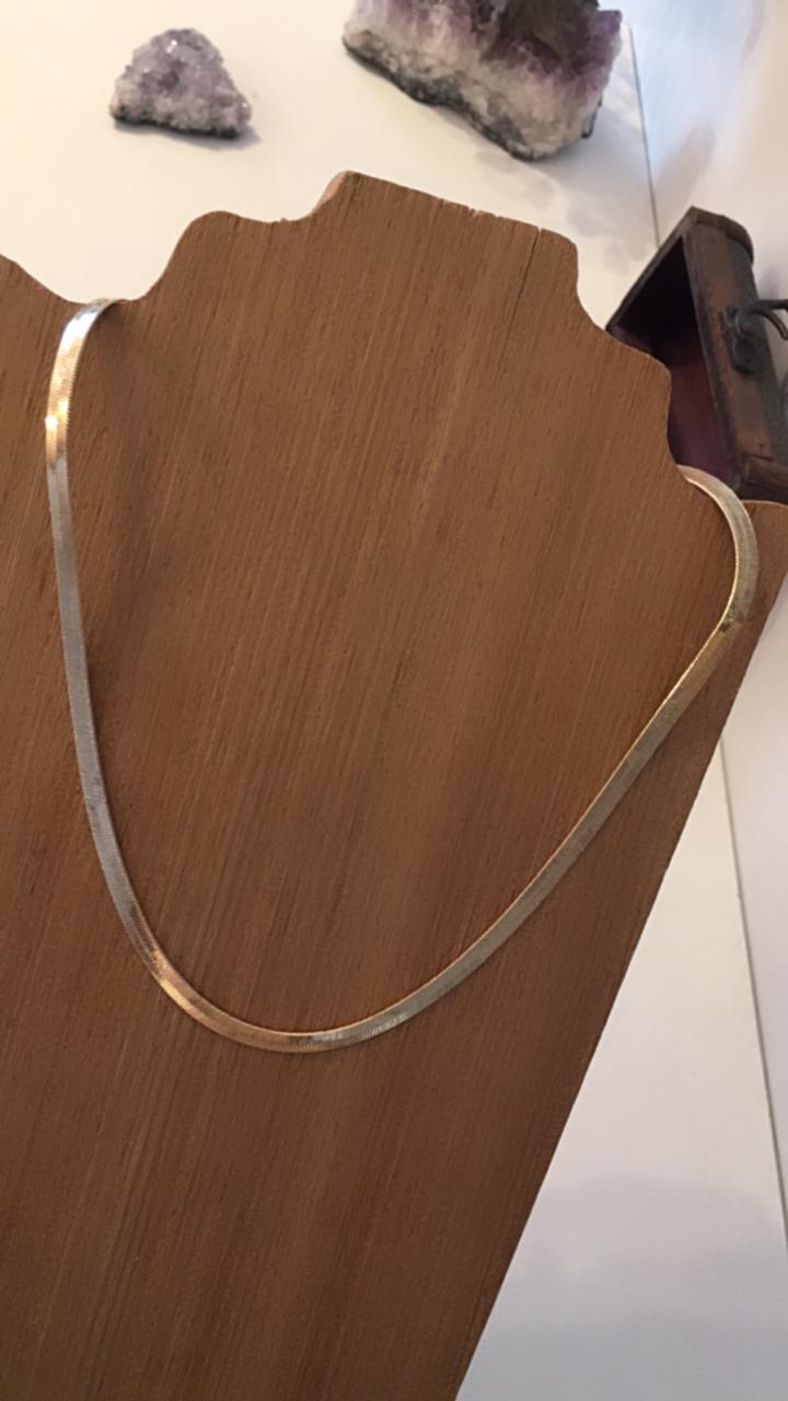 Colar folheado dourado cordão achatado cobra | CF375