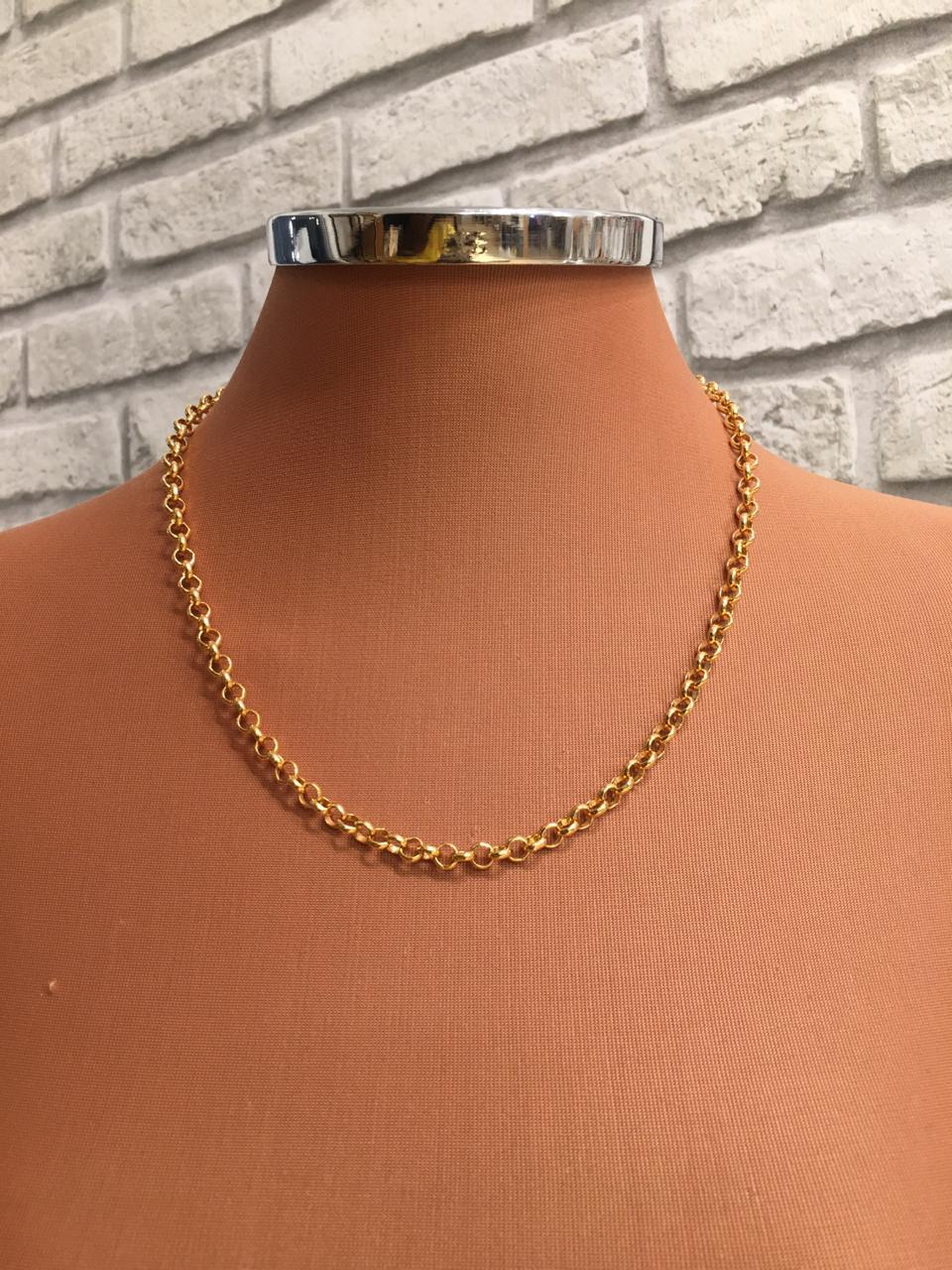 Colar Folheado Dourado De Elo Português | CF102