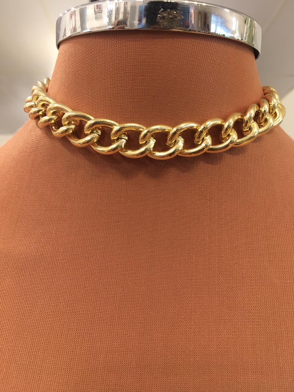 Colar Folheado Dourado De Elos | CF329