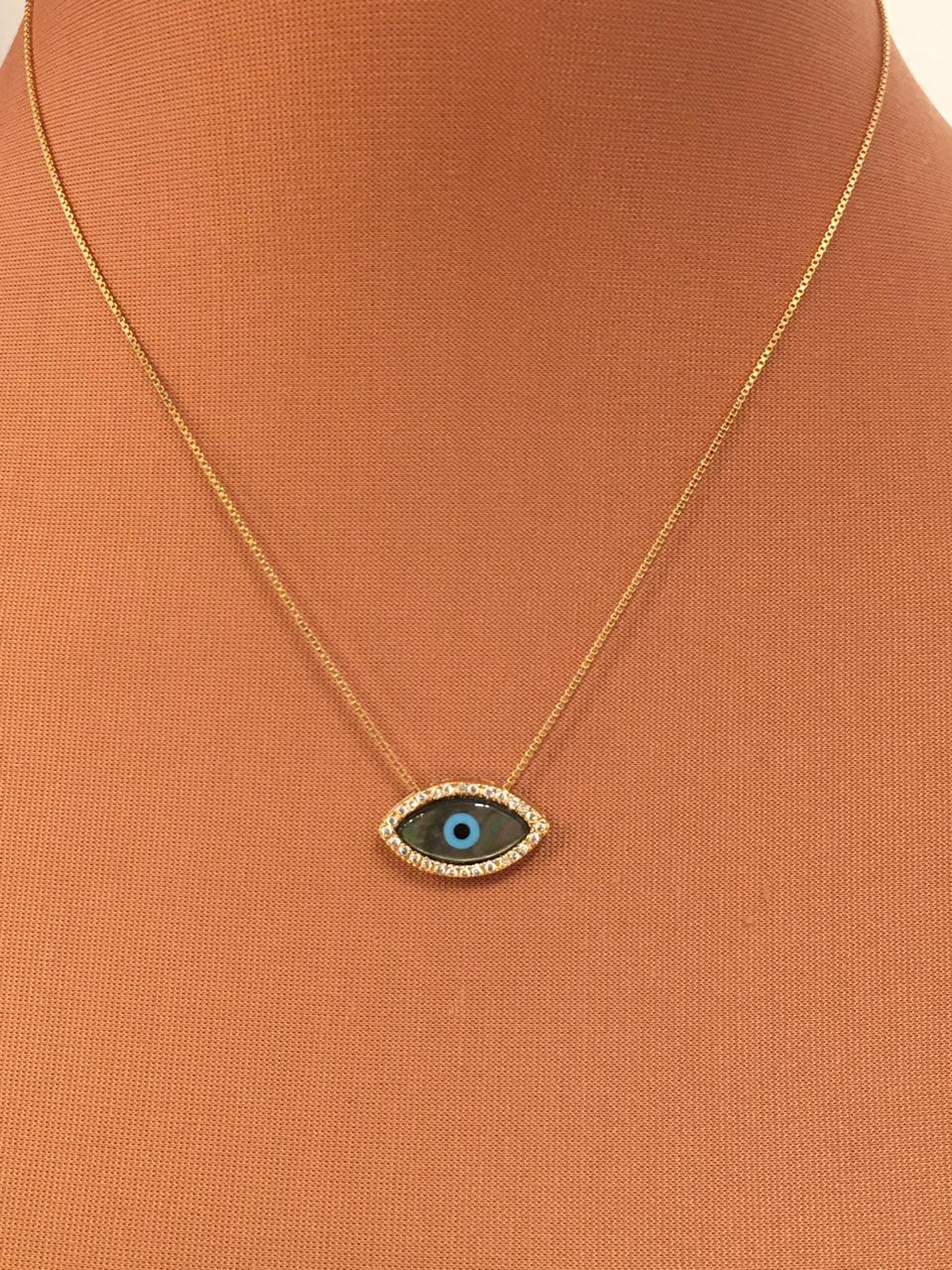 Colar folheado ping olho acizentado com zircônias em volta | CF376