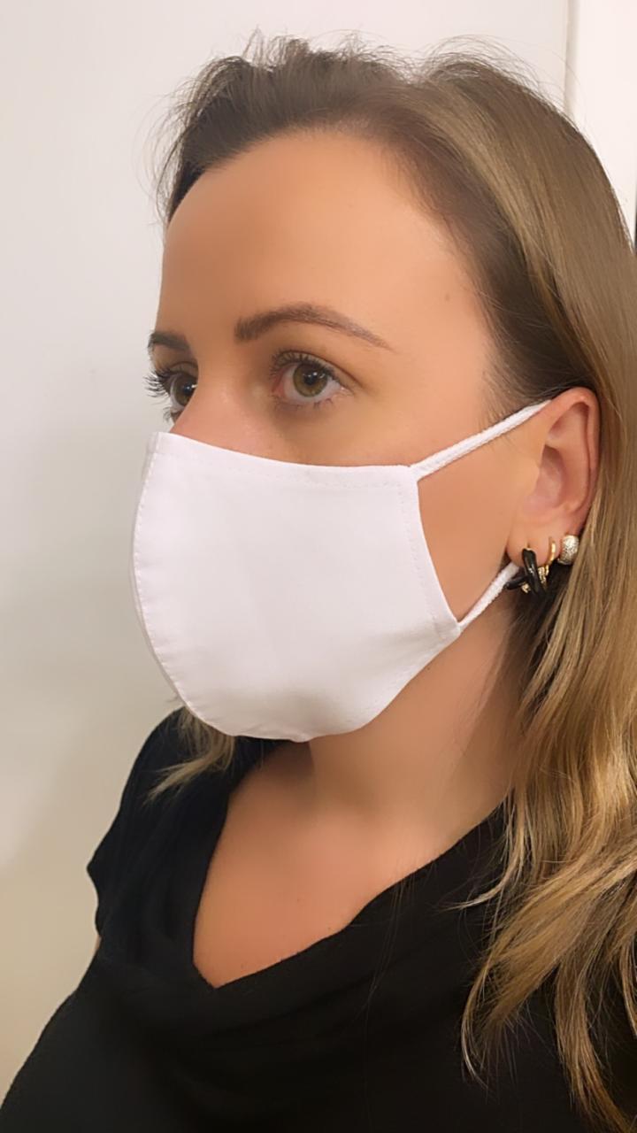 Máscara Anatômica Branca camada dupla de tecido 100% algodão  | AC314