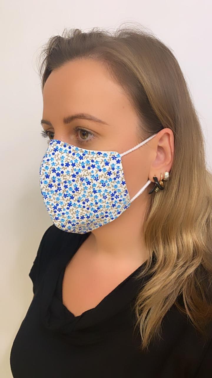 Máscara Anatômica Floral camada dupla de tecido 100% algodão  | AC318
