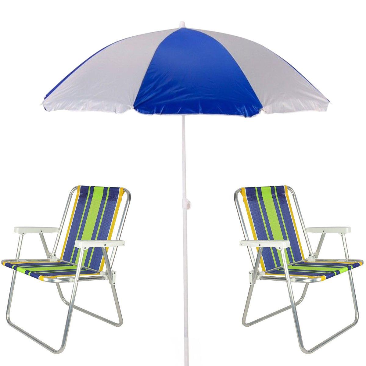 2 Cadeiras De Praia Aluminio + Guarda Sol De Praia Mor