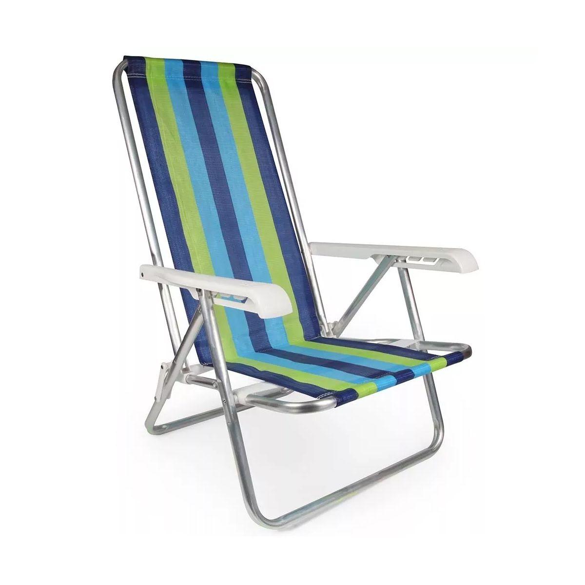 Cadeira Mor Aluminio Reclinável 4 Posições