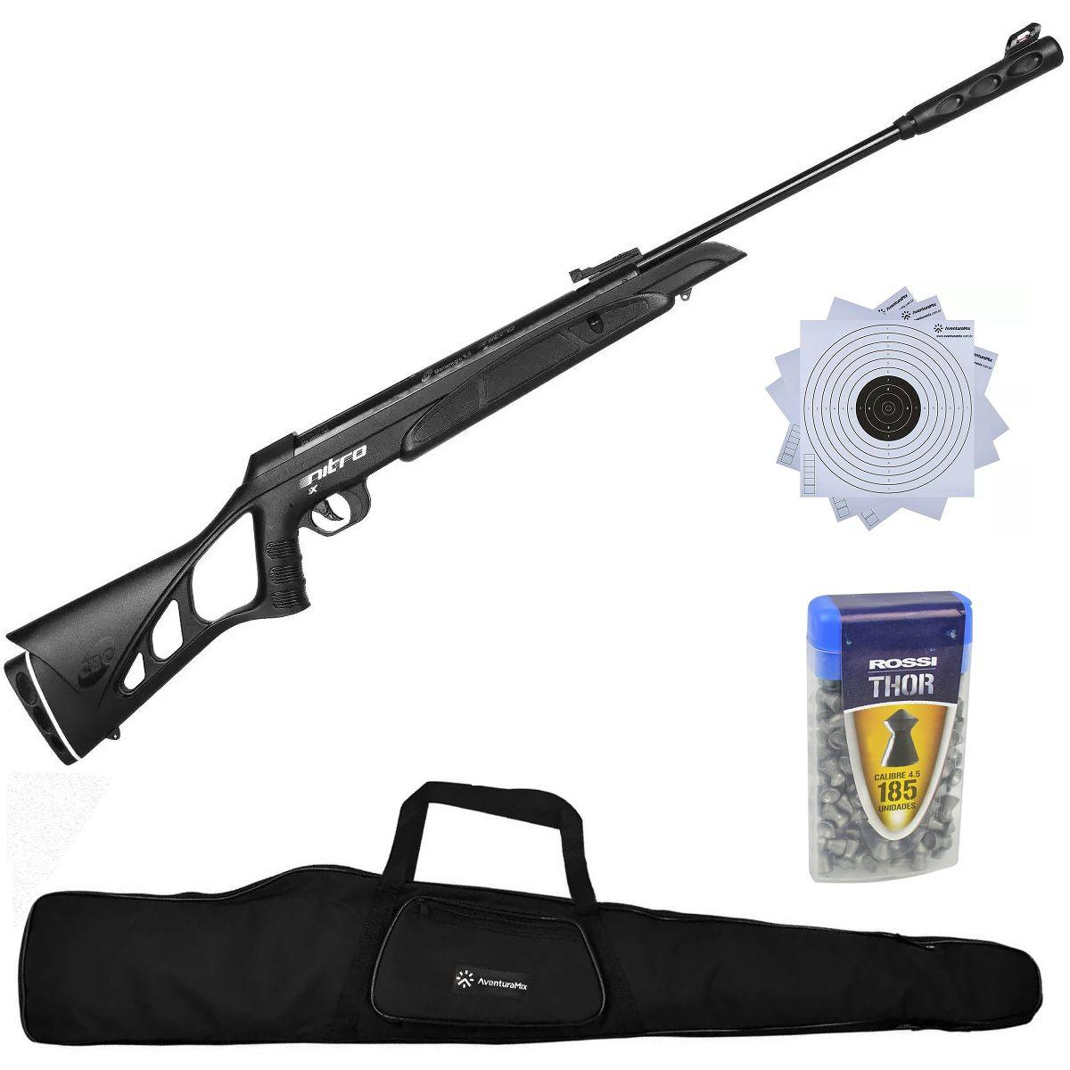 Carabina de Pressão CBC F18 Nitro X 1300 Oxidada PP 4.5mm + Capa + Chumbinho + Alvos