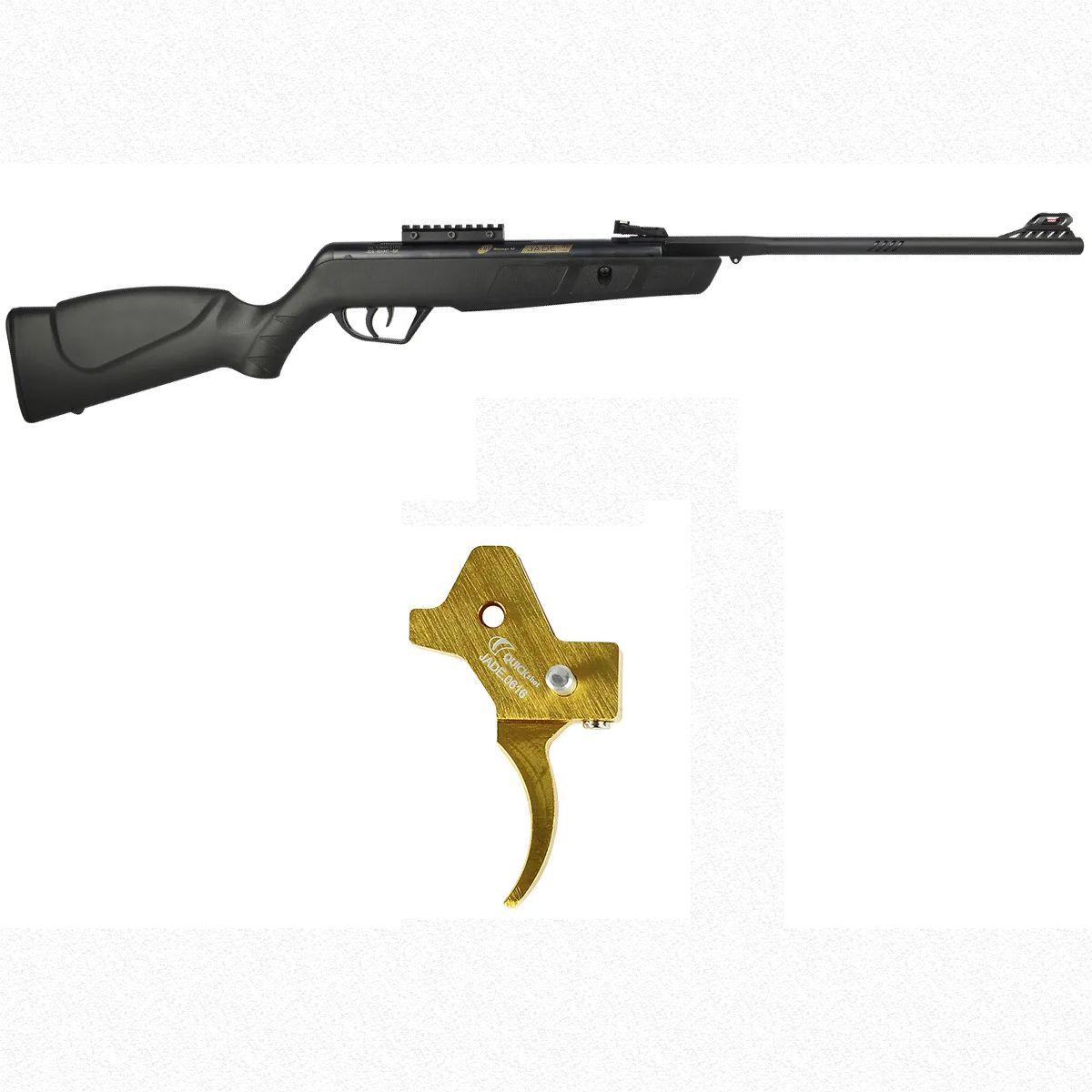 Carabina de Pressão CBC Jade Mais Preta 4.5mm + Gatilho Ajustável Dourado