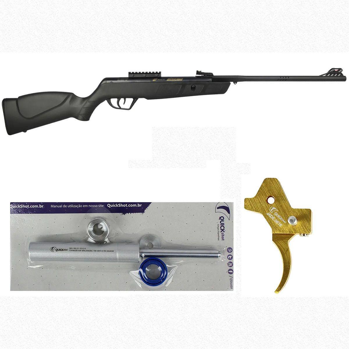 Carabina de Pressão CBC Jade Mais Preta 4.5mm + Gatilho Ajustável Dourado + Kit Mola Gás Ram