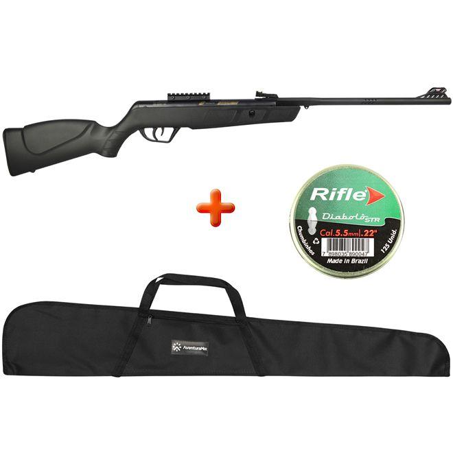 Carabina de Pressão CBC Jade MAIS Preta 5.5mm + Capa Simples + BRINDE Chumbinho Rifle