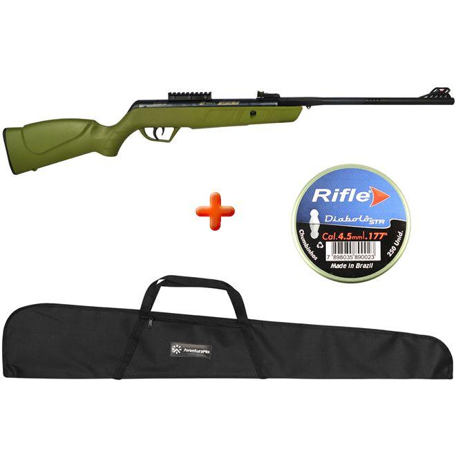 Carabina de Pressão CBC Jade MAIS Verde 4.5mm + Capa Simples + BRINDE Chumbinho Rifle