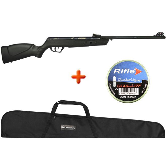 Carabina de Pressão CBC Jade Oxidada Preta 4.5mm + Capa Simples + BRINDE Chumbinho Rifle