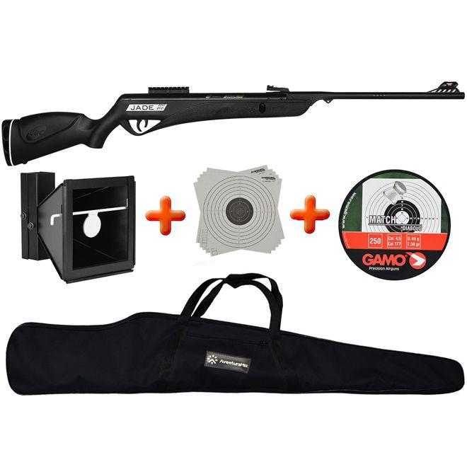 Carabina de Pressão CBC Jade PRO Oxidada Preta 4.5mm + Alvo Duplo 17x17cm e 14x14cm + Chumbinho + BR