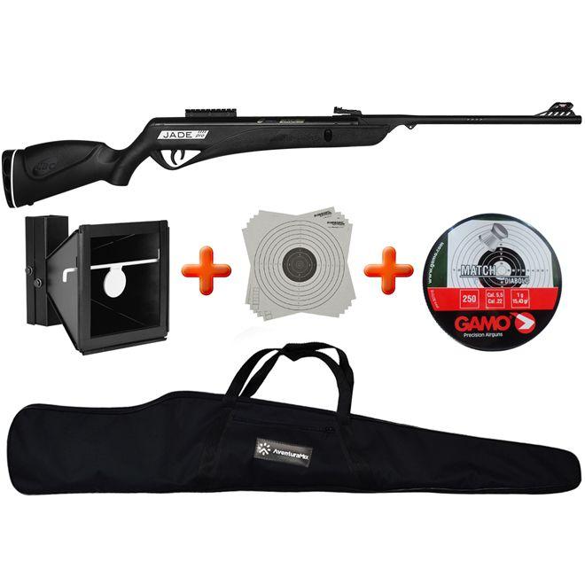 Carabina de Pressão CBC Jade PRO Oxidada Preta 5.5mm + Alvo Duplo 17x17cm e 14x14cm + Chumbinho + BR