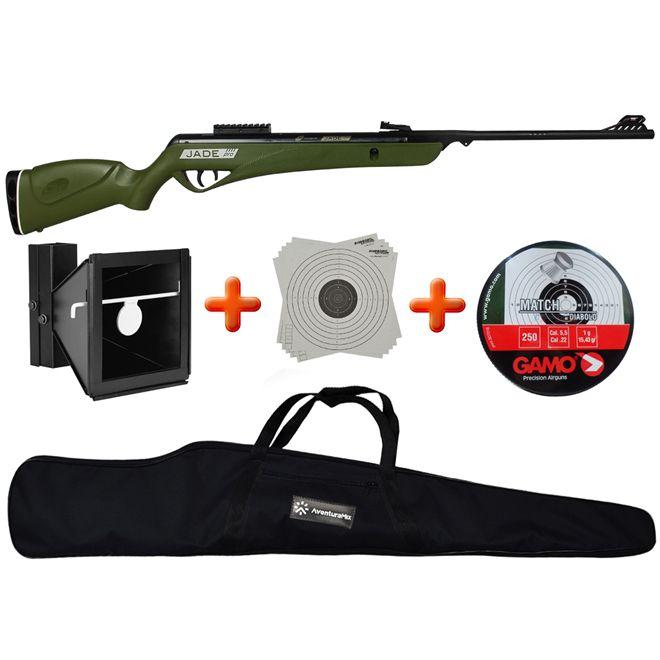 Carabina de Pressão CBC Jade PRO Oxidada Verde 5.5mm + Alvo Duplo 17x17cm e 14x14cm + Chumbinho + BR